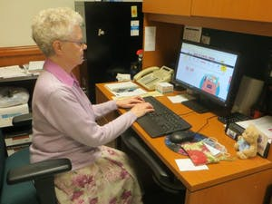 Sr. Angela checks supply closets and submits orders for needed supplies online.